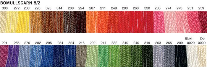 Cotton 8/2 by Borgs - scroll below the colour card