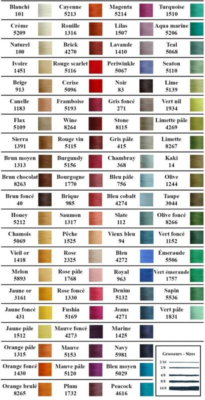 Cotton 8/2 by Maurice Brassard - scroll below the colour card